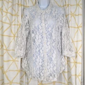 COLDWATER CREEK Lace 3/4 Sleeve Button Down